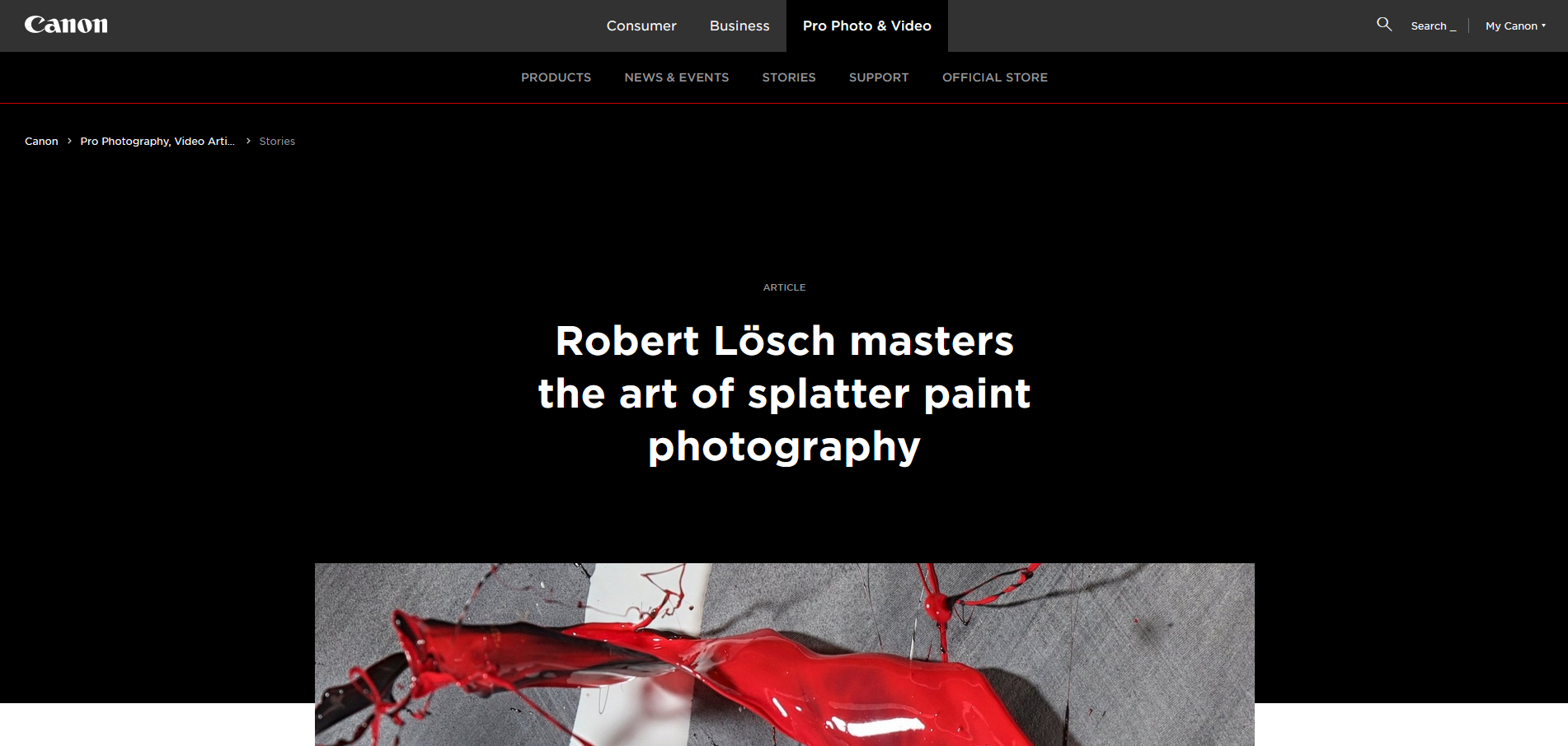 Portfolio on Canon Europe Pro about Live Action Splatter Painting Photography LASPP